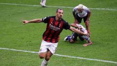 Indosport - Selebrasi Zlatan Ibrahimovic dalam laga AC Milan vs Bologna di Serie A Liga Italia