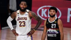 Indosport - LeBron James dan Jamal Murray di game ketiga final NBA Wilayah Barat antara Denver Nuggets vs LA Lakers, Rabu (23/09/20).