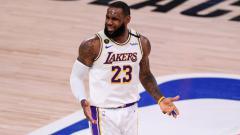 Indosport - LeBron James di laga ketiga final NBA Wilayah Barat antara LA Lakers vs Denver Nuggets.