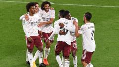 Indosport - Arsenal selebrasi gol atas Leicester City di laga Carabao Cup, Kamis (24/09/20).