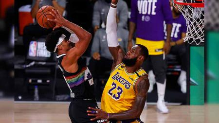 La Lakers berhasil memastikan tiket ke Grand Final NBA 2019/20 usai mengalahkan Denver Nuggets di game kelima Final Wilayah Barat. - INDOSPORT