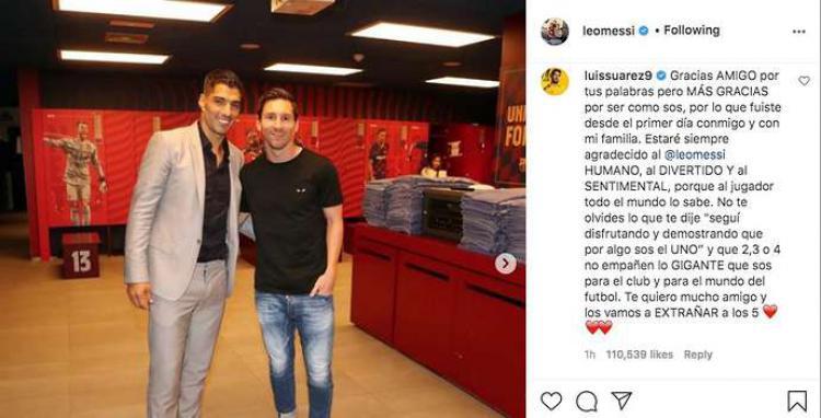 Luis Suarez memberikan respons dalam postingan Lionel Messi Copyright: instagram.com/leomessi/