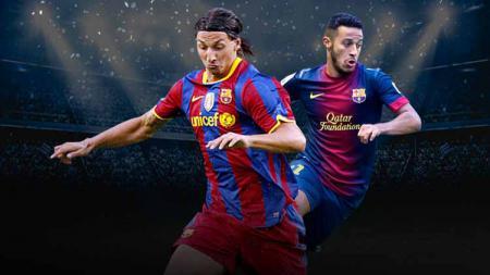Zlatan Ibrahimovic dan Thiago Alcantara saat masih membela Barcelona. - INDOSPORT