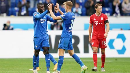 Para pemain Hoffenheim merayakan kemenangan mereka atas Bayern Munchen - INDOSPORT