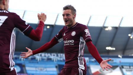 Selebrasi Jamie Vardy usai mencetak gol di laga Manchester City vs Leicester City - INDOSPORT