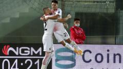 Indosport - Selebrasi Brahim Diaz usai mencetak gol dalam laga Crotone vs AC Milan
