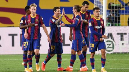 Top skor LaLiga Spanyol memasuki pekan keempat, Lionel Messi kalah saing dari rekan di Barcelona, Ansu Fati. - INDOSPORT