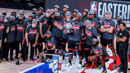 Tiket grand final berhasil direbut Miami Heat usai menundukkan Boston Celtics di game keenam final NBA Wilayah Timur 2019/20. - INDOSPORT