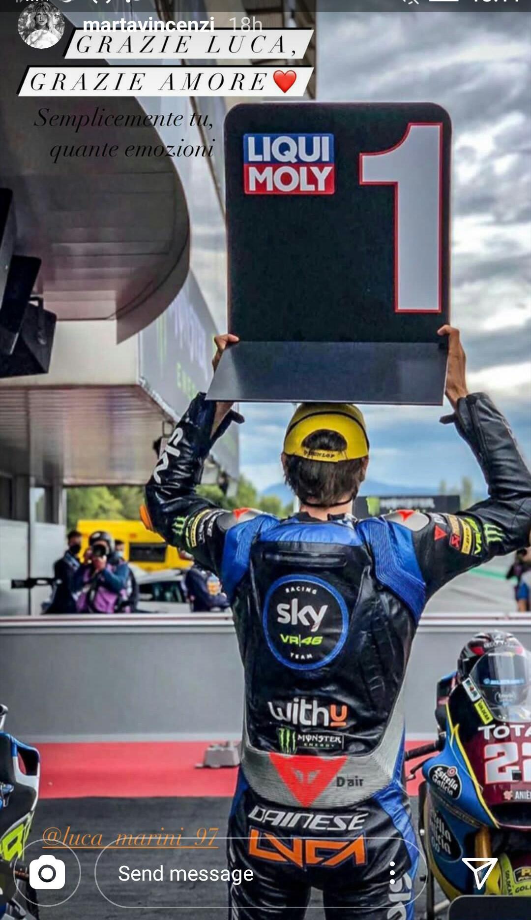 Luca Marini Menang Moto2 Catalunya Pacar Langsung Kirim Pesan Copyright: Instagram Marta Vincenzi