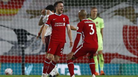 Selebrasi Diogo Jota usai mencetak gol di laga Liverpool vs Arsenal - INDOSPORT