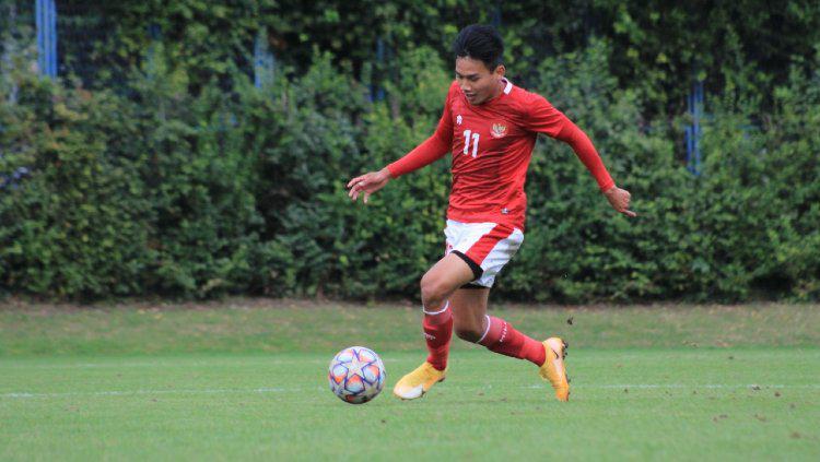 Penggawa Timnas Indonesia U-19, Witan Sulaeman dalam laga lawan Dinamo Zagreb. Copyright: Bandung Saputra/PSSI