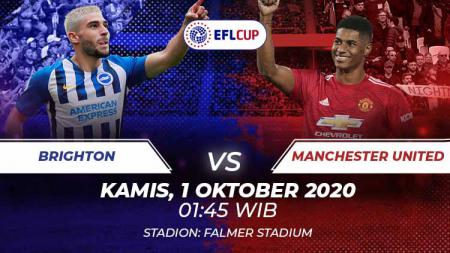Live Streaming Carabao Cup antara Brighton vs Manchester United di Mola TV pada Kamis (1/10/2020) pukul 01.45 dini hari WIB. - INDOSPORT