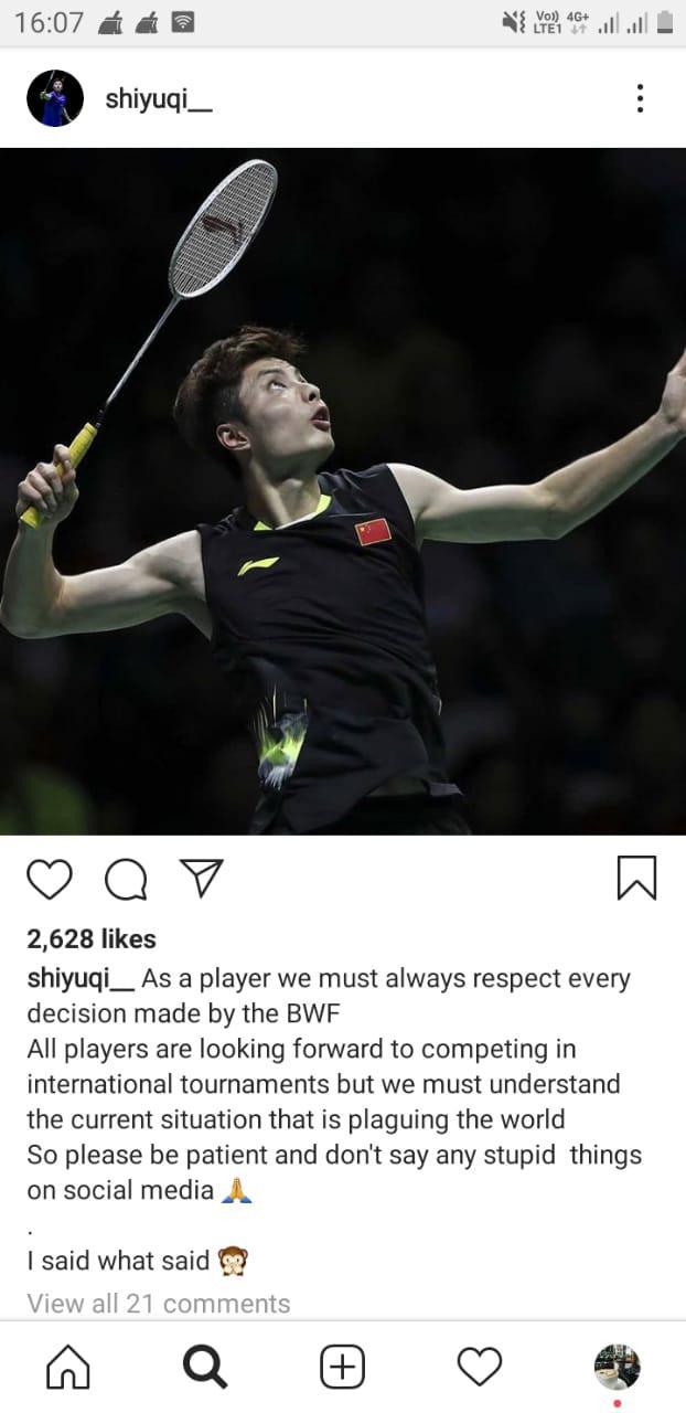 Pebulutangkis China, Shi Yuqi meminta semua pihak mendukung keputusa BWF atas penundaan sejumlah turnamen tahun ini. Copyright: Instagram/Shi Yuqi