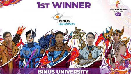 Binus University berhasil menjadi juara Piala Menpora eSports 2020. - INDOSPORT