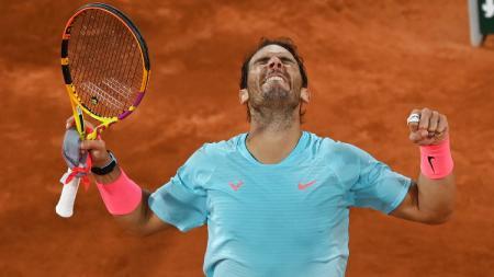 Rafael Nadal ke semifinal Prancis Terbuka 2020 usai mengalahkan Jannik Sinner. - INDOSPORT