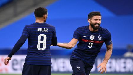 Selebrasi Olivier Giroud pasca mencetak gol di laga persahabatan Timnas Prancis vs Ukraina. - INDOSPORT