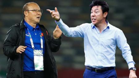 Shin Tae-yong dan Timnas Indonesia sukses bikin Timnas Vietnam serta Park Hang-seo gigit jari di SEA Games 2021 mendatang. - INDOSPORT