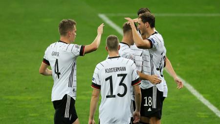 Selebrasi pemain Jerman usai membobol gawang Ukraina di UEFA Nations League. - INDOSPORT