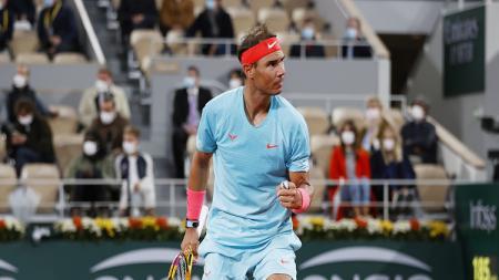 Petenis asal Spanyol, Rafael Nadal saat tampil di Prancis Terbuka 2020. - INDOSPORT