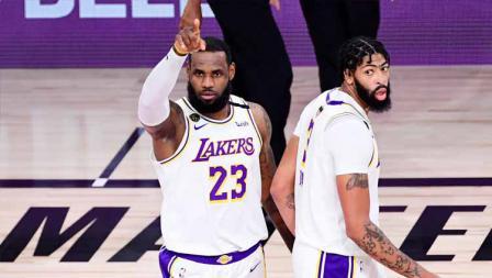 LeBron James di Game 6 Final NBA antara LA Lakers vs Miami Heat, Minggu (11/10/2020) di AdventHealth Arena.