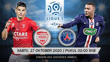 Link Live Streaming Ligue 1 Prancis antara Nimes Olympique vs Paris Saint-Germain, Sabtu (17/10/2020) pukul 02.00 dini hari WIB. - INDOSPORT