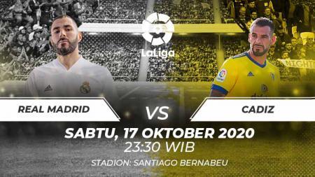 Link live streaming pertandingan pekan keenam LaLiga Spanyol antara Real Madrid vs Cadiz bisa disaksikan melalui beIN SPORTS pada Sabtu (17/10/2020) pukul 23.30 WIB. - INDOSPORT