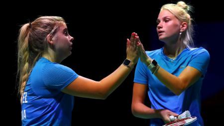 Kati-Kreet Marran dan Helina Ruutel, perwakilan Estonia di turnamen bulutangkis Denmark Open 2020. - INDOSPORT