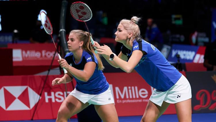 Kati-Kreet Marran dan Helina Ruutel, perwakilan Estonia di turnamen bulutangkis Denmark Open 2020. Copyright: Lars Ronbog / FrontZoneSport via Getty Images