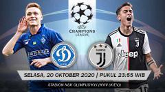 Indosport - Fakta dan data pertandingan Dynamo Kyiv vs Juventus (Liga Champions).