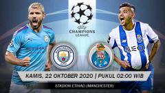 Indosport - Berikut link live streaming pertandingan Liga Champions Manchester City vs Porto, Kamis (22/10/20) dini hari WIB.
