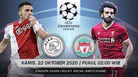 Berikut link live streaming pertandingan Liga Champions Grup D yang akan mempertemukan Ajax vs Liverpool. - INDOSPORT