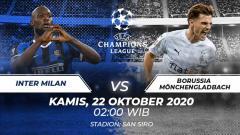 Indosport - Prediksi pertadingan Grup B Liga Champions antara Inter Milan vs Borussia Mönchengladbach, Kamis (22/10/2020) pukul 02.00 dini hari WIB.