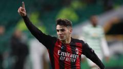 Indosport - Selebrasi Brahim Diaz di laga Liga Europa Glasgow Celtic vs AC Milan