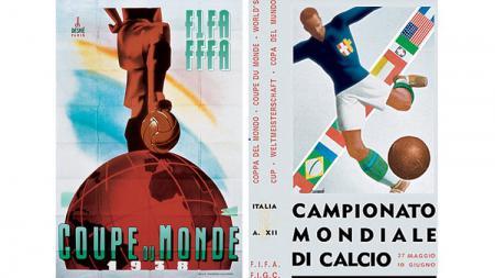 Penampakan poster Piala Dunia 1934 dan 1938 yang sarat dengan nuansa politik. - INDOSPORT