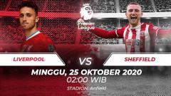 Indosport - Berikut prediksi pertandingan Liga Inggris antara Liverpool vs Sheffield United yang bakal digelar di Anfield, Minggu (25/10/20) dini hari WIB.