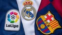 Logo Barcelona vs Real Madrid di LaLiga Spanyol