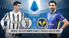 Indosport - Berikut tersaji prediksi pertandingan sepak bola Serie A Liga Italia 2020-2021 antara Juventus vs Hellas Verona yang akan berlangsung pada Senin (26/10/20).