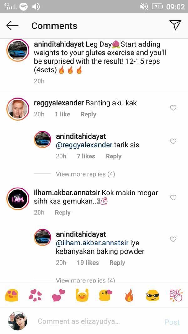 Sering olahraga tapi dianggap makin berisi, Anindita Hidayat beri balasan nyeleneh. Copyright: Instagram@aninditahidayat