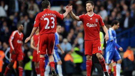 Selebrasi Xabi Alonso usai menentukan kemenangan Liverpool atas Chelsea di Liga Inggris, 26 Oktober 2008. - INDOSPORT