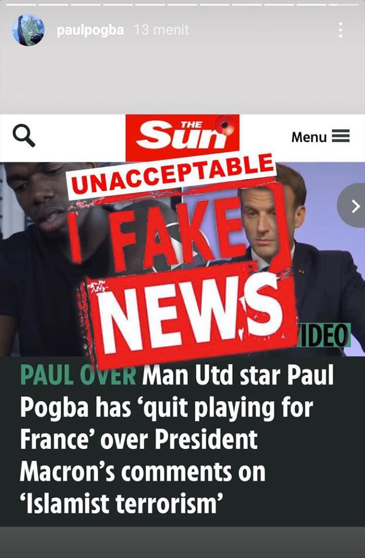 Paul Pogba marah dan mengatakan The Sun telah melakukan kebohongan Copyright: instagram.com/paulpogba