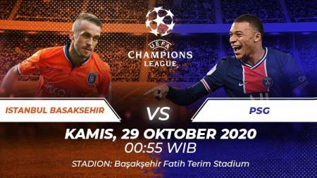 Berikut tersaji link live streaming pertandingan Liga Champions 2020-2021 antara Istanbul Basaksehir vs Paris Saint-Germain yang berlangsung Kamis (29/10/20). - INDOSPORT