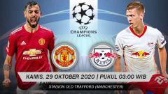 Indosport - Pertandingan Manchester United vs Leipzig (Liga Champions).