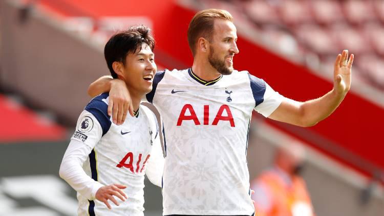 Dua bintang Tottenham Hotspur, Son Heung-min dan Harry Kane. Copyright: Andrew Boyers - Pool/Getty Images