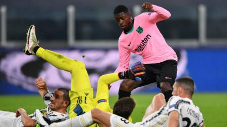 Aksi Ousmane Dembele di laga Liga Champions Juventusl vs Barcelona - INDOSPORT