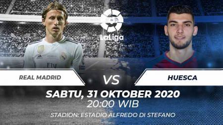 Berikut tersaji link live streaming pertandingan sepak bola LaLiga Spanyol 2020-2021 antara Real Madrid vs Huesca di Santiago Bernabeu. - INDOSPORT