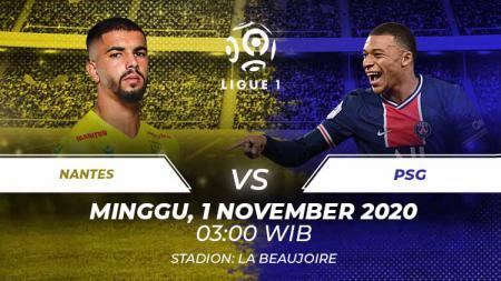 Berikut link live streaming pertandingan Ligue 1 pekan ke-9 yang akan mempertemukan Nantes vs PSG. - INDOSPORT