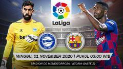 Indosport - Link Live Streaming pertandingan LaLiga Spanyol antara Deportivo Alaves vs Barcelona yang bakal tersaji pada Minggu (01/11/2020) pukul 03.00 dini hari WIB.