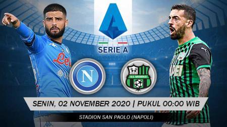 Berikut tersaji link live streaming pertandingan sepak bola Serie A Liga Italia 2020/21 antara Napoli vs Sassuolo yang akan berlangsung pada Senin (02/11/20). - INDOSPORT