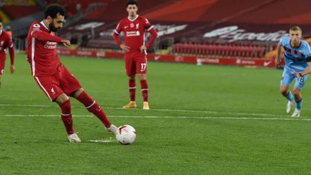 Gol Mohamed Salah di laga Liverpool vs West Ham United. - INDOSPORT