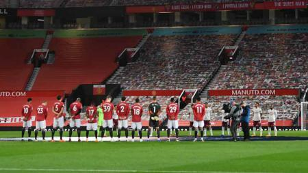 Pemain Manchester United di Old Trafford. - INDOSPORT